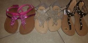 Lot of 3 little girls sandals size 12 NWOT